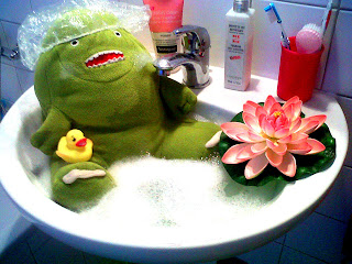 papa B taking a bath