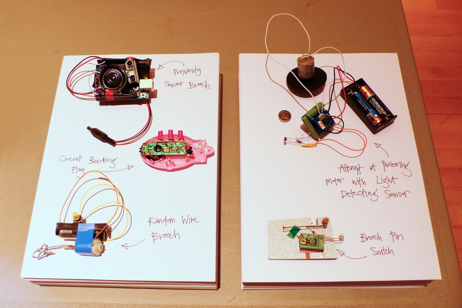 Objects created and on display for Random String Symposium, including a bit of circuit bending, some hacked pieces and a bit of arduino magic.