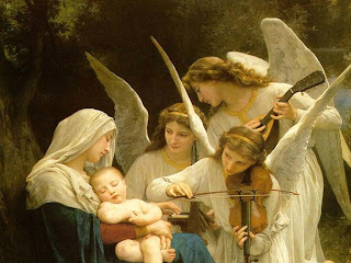 Mother Mary with child Jesus sleeping in her lap and angels singing and playing violin free religious bible pictures