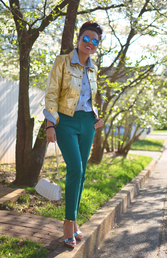 Blogger with metallic jacket