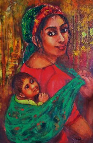 Mother and Child by Kajal Bhattacharya ( part of her portfolio on www.indiaart.com )