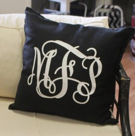 monogrammed-black-white-pillow