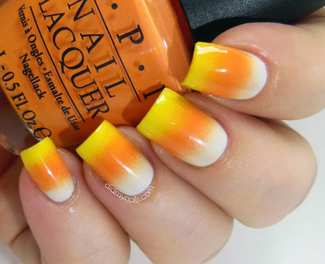 candy corn Halloween nails