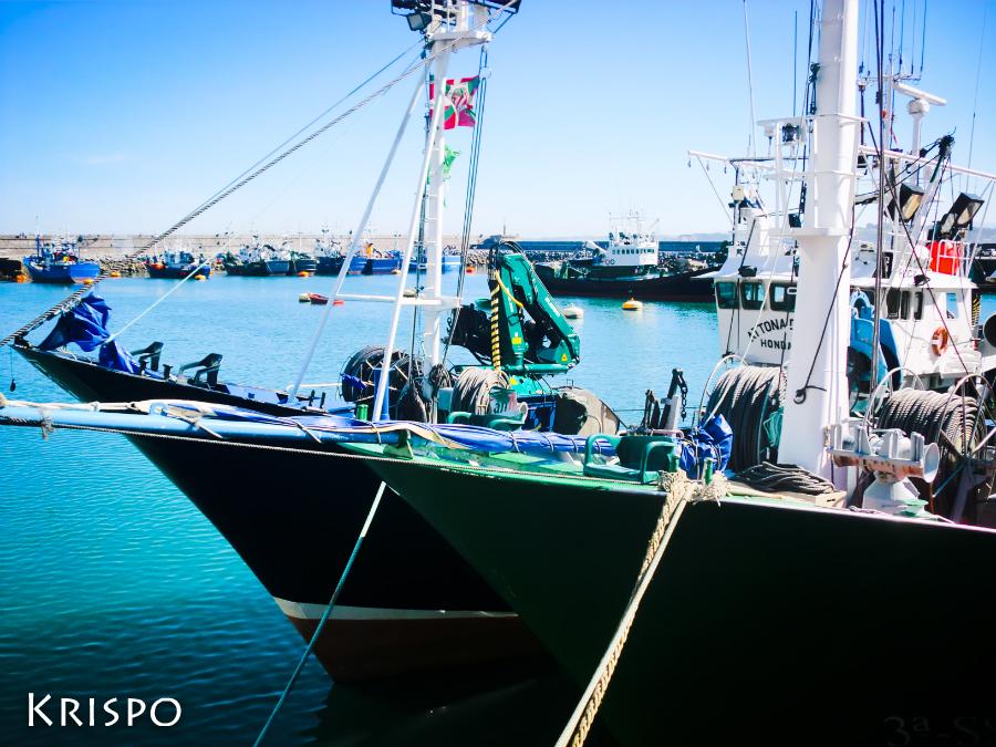 dos barcos pesqueros aarrados en puerto de hondarribia