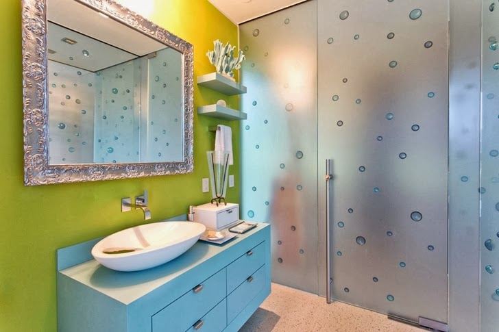 Green wall bathroom in Multimillion modern dream home in Las Vegas