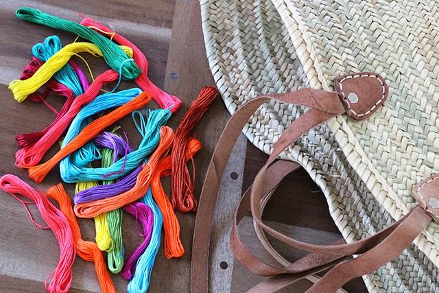 Materiales para customizar el bolso capazo con hilos de colores