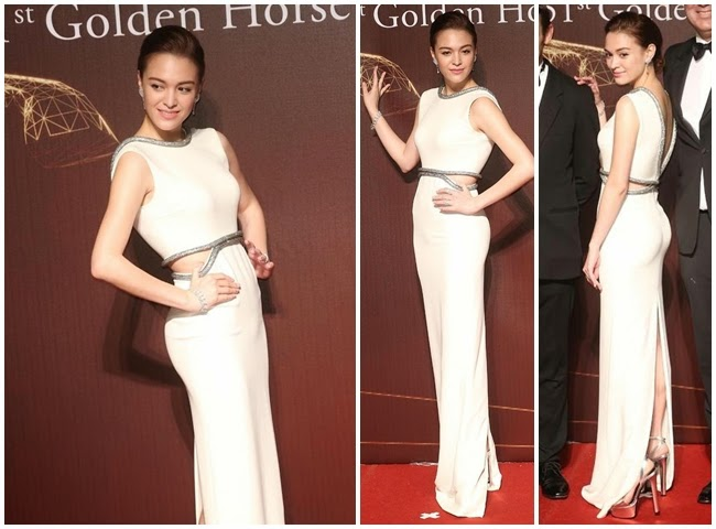 2014 Golden Horse Awards:Sandrine Pinna wore the same Gucci gown with Charlotte Casiraghi