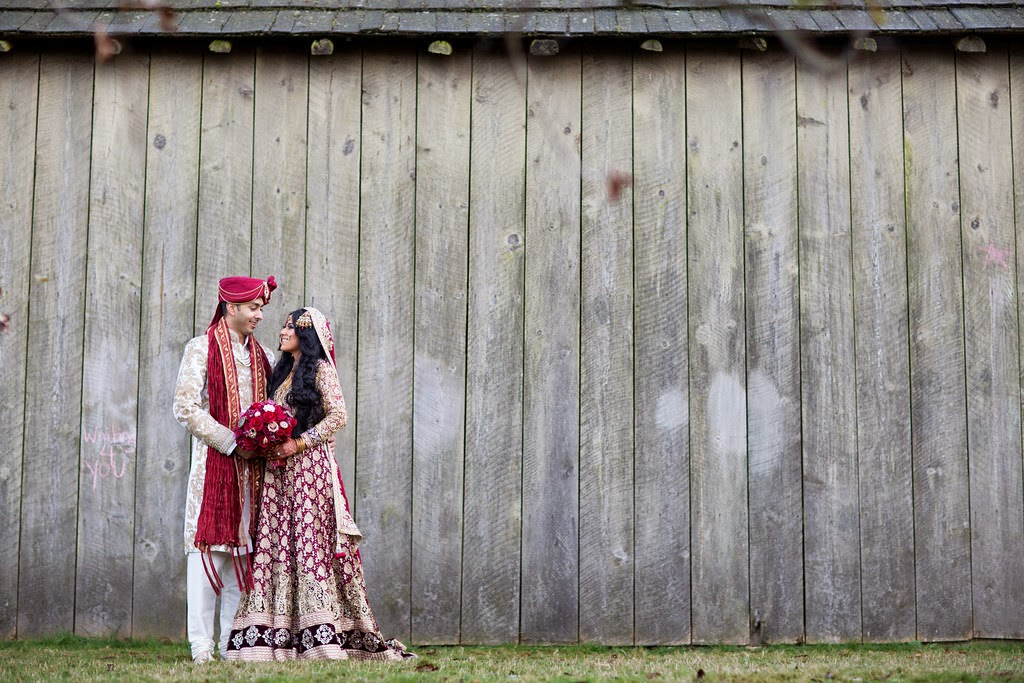 indian wedding, south asian wedding, wedding portrait, barn, rustic, sherwani,