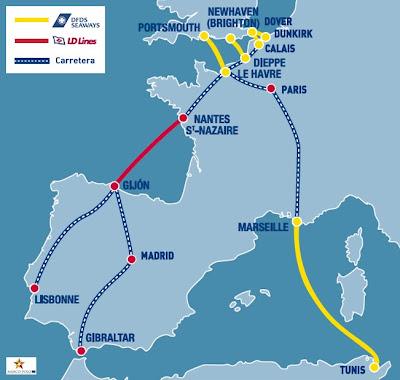 Mapa de rutas para realizar los viajes en Ferry