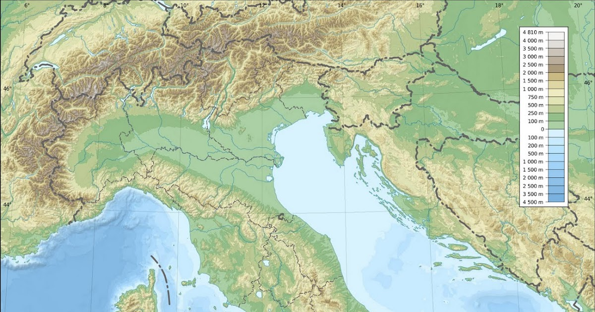 A World Of Maps Topographic Map: Italy Topographic Map At Slyspyder.com