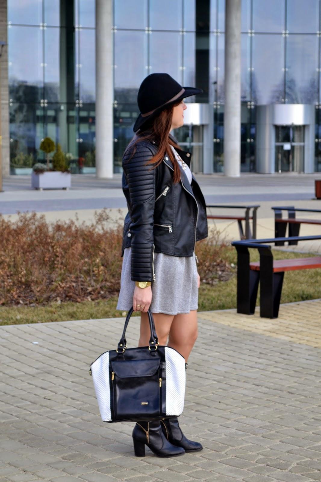 czarna ramoneska, pikowana kurtka, kurtka z przeszyciami, czarny kapelusz, botki czasnabuty, Elegencki zestaw, stylizacja rock