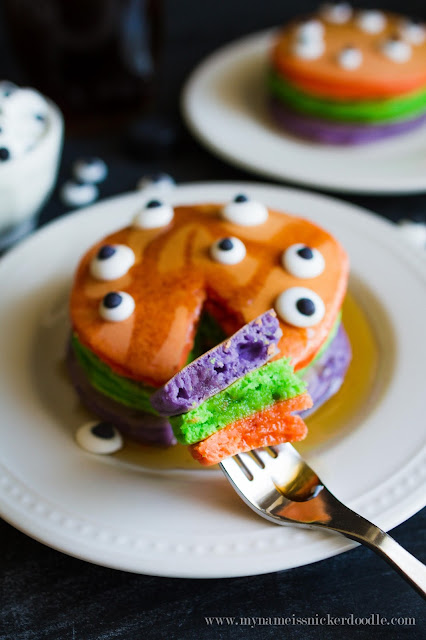 I want to serve these Halloween Trick or Treat Pancakes to my kids!  This recipe is easy and I know they will love them!     My Name Is Snickerdoodle