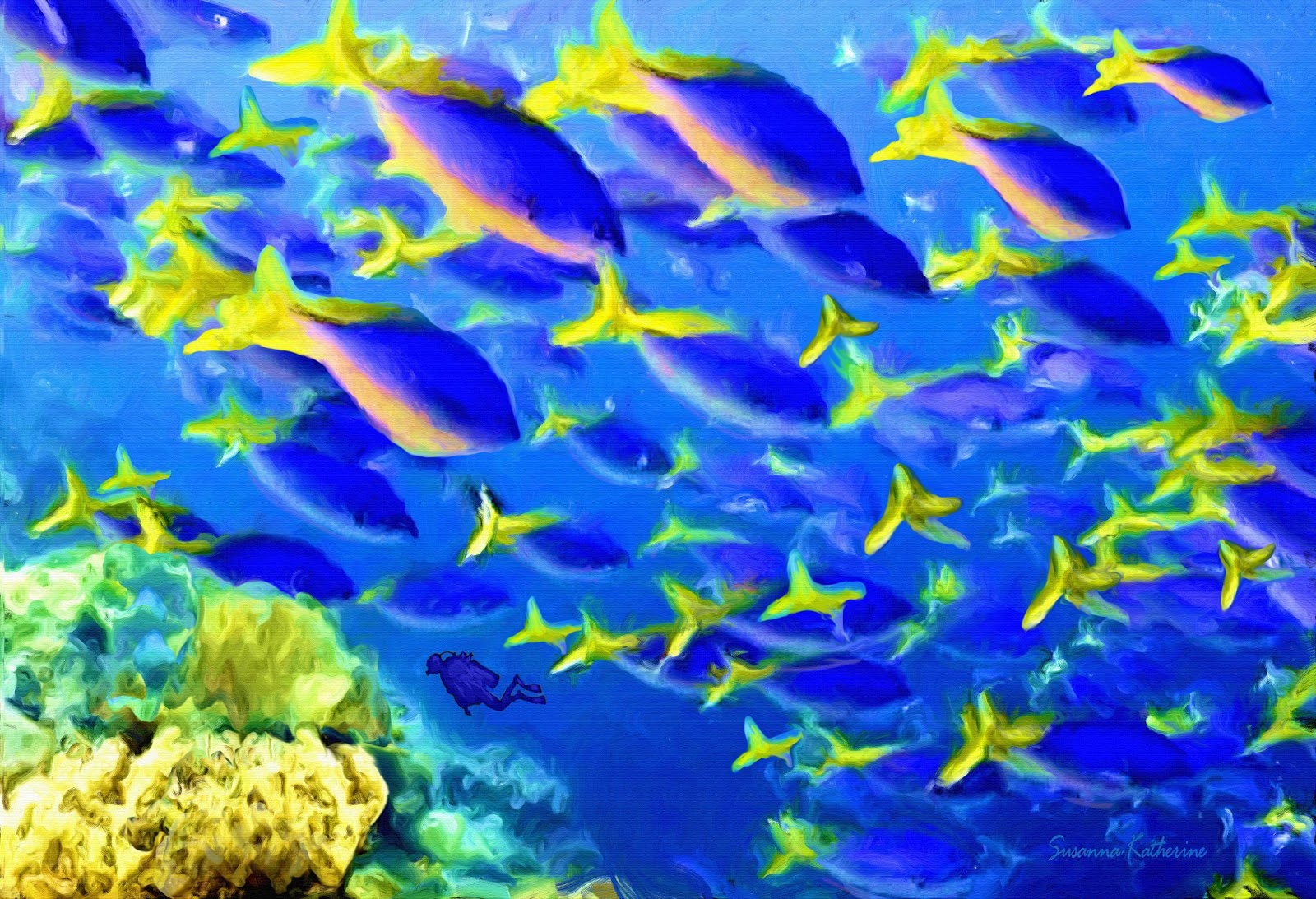 Paintings of artists original unusual art painting of for Fish under the sea