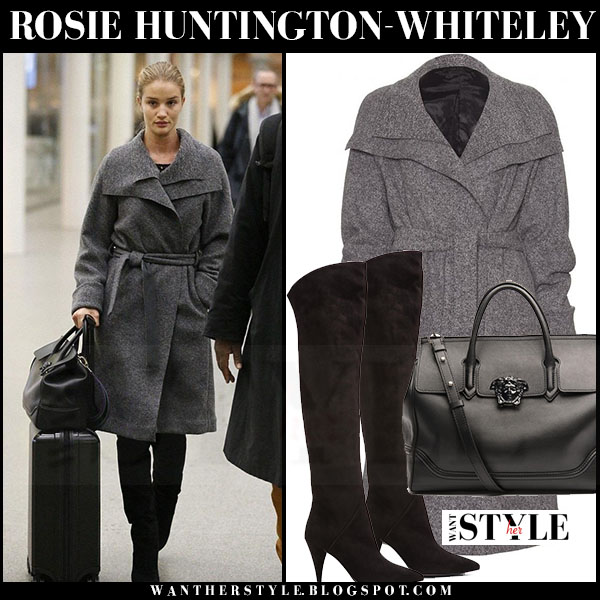 Rosie Huntington-Whiteley in grey belted wool the row magdalena coat, black saint laurent cat boots with black versace palazzo empire bag what she wore streetstyle
