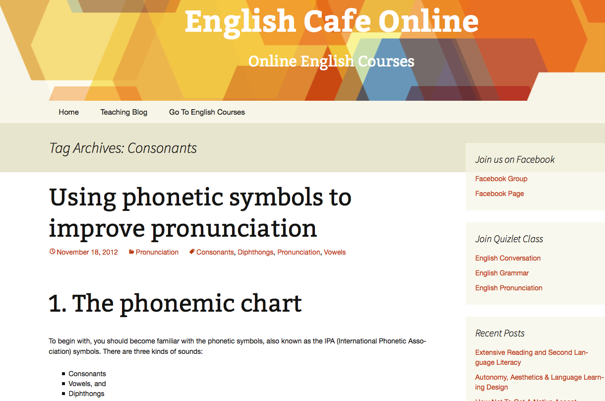 English Cafe homepage