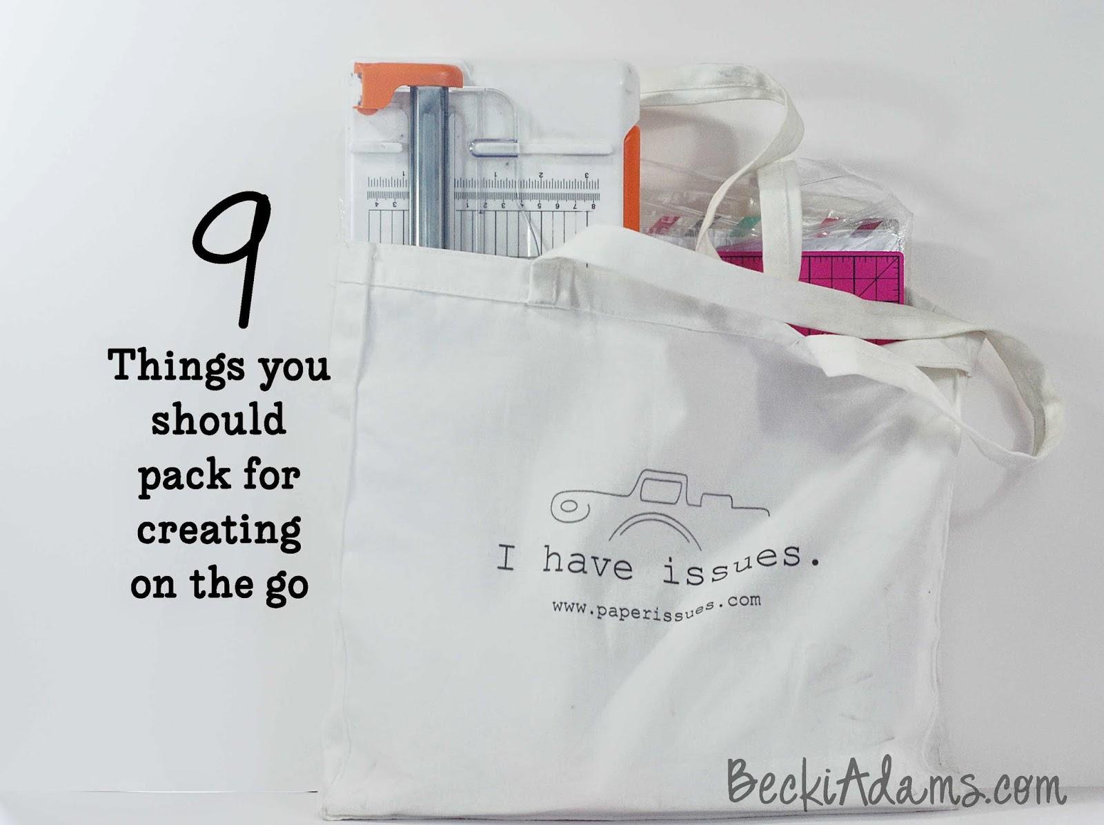 Scrapbooking essentials, scrapbooking supplies, packing scrapbooking supplies