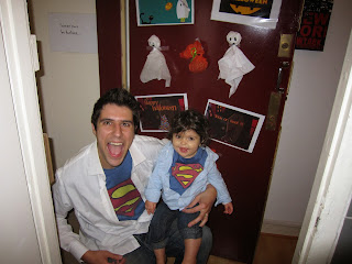 Trick-or-treating isn't common yet in France, but my two Supermen still tried!