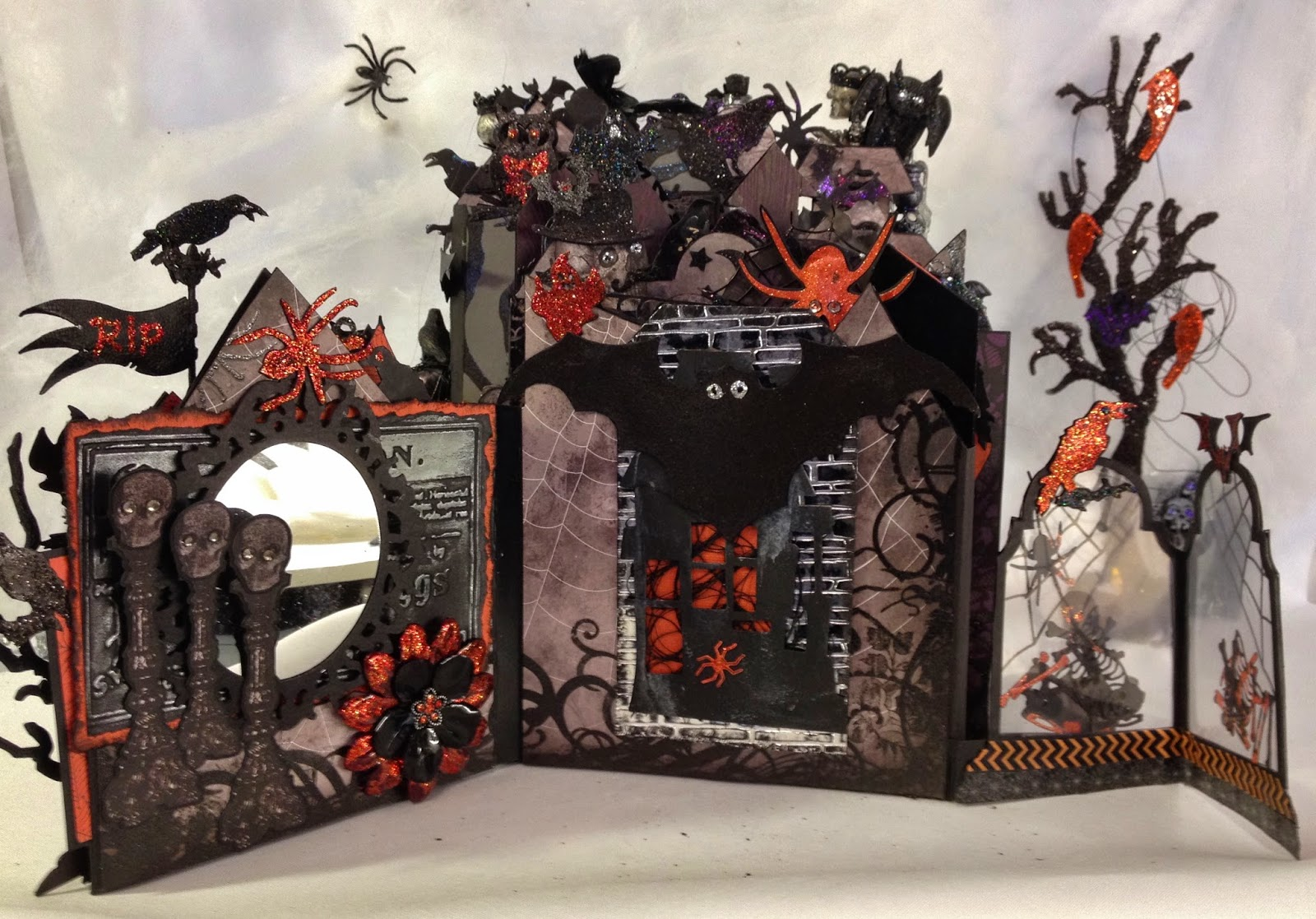 annes papercreationsRecollections spooky castle Halloween mini album