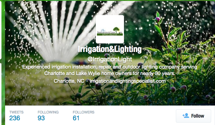 Charlotte irrigation companies - Irrigation and Lighting Specialist is on Twitter