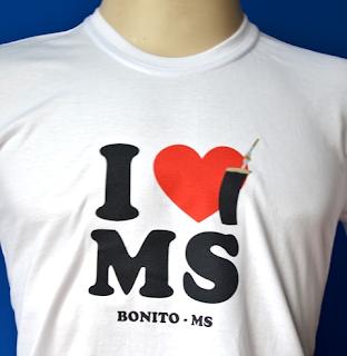 Camiseta I LOVE MS -Bonito-Brasil -P,G,GG