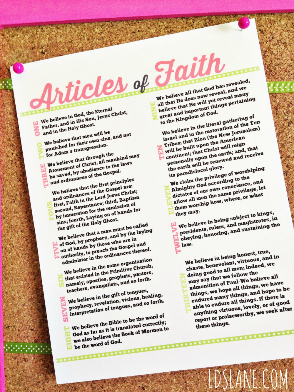 This is an image of Obsessed Articles of Faith Printable