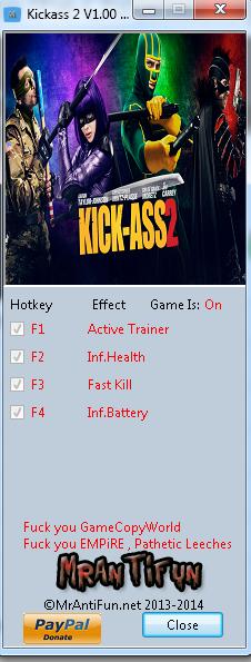 Kickass 2 V1.00 Trainer +3  MrAntiFun