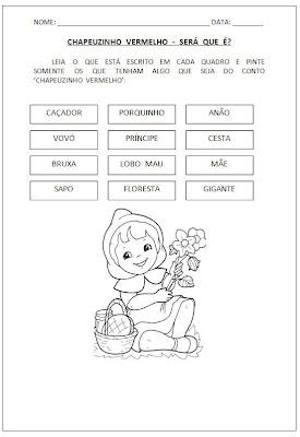 Atividade Chapeuzinho Vermelho - Será que é - Atividade para alfabetização