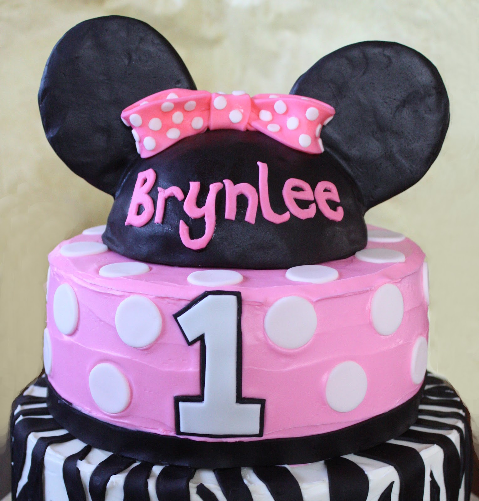 Straight to Cake: Minnie Mouse - Zebra 1st Birthday Cake