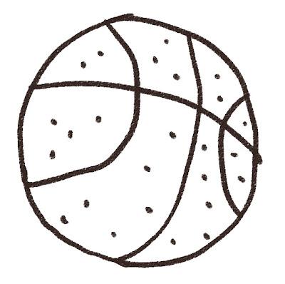 バスケットボールのイラスト(スポーツ器具) モノクロ線画