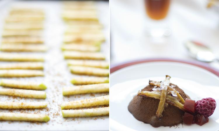 trufas2 Trufas heladas de chocolate y aceite de oliva con sal, sticks de manzana y gelatina de pimiento rojo y frambuesas