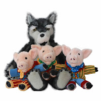 Three Little Pigs + Wolf Puppet Toys