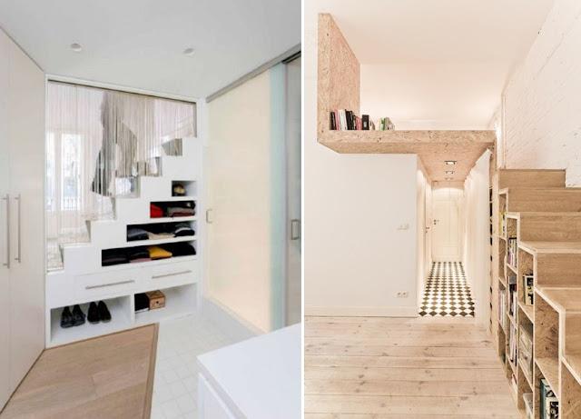 Escalera y almacenaje todo en uno espacios en madera for Estanteria madera blanca