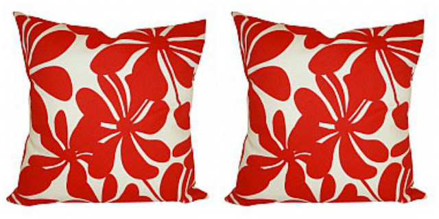 outdoor red floral pillows