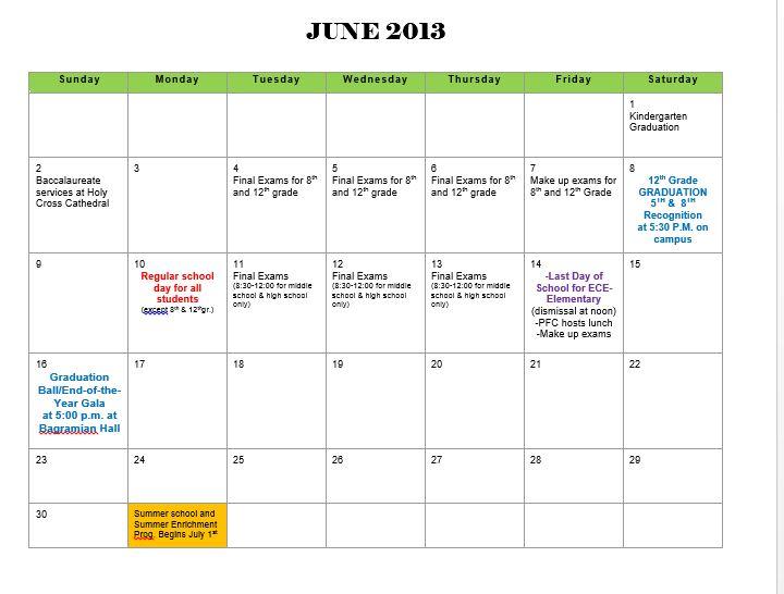 Calendar Spot June : June calendar of school events