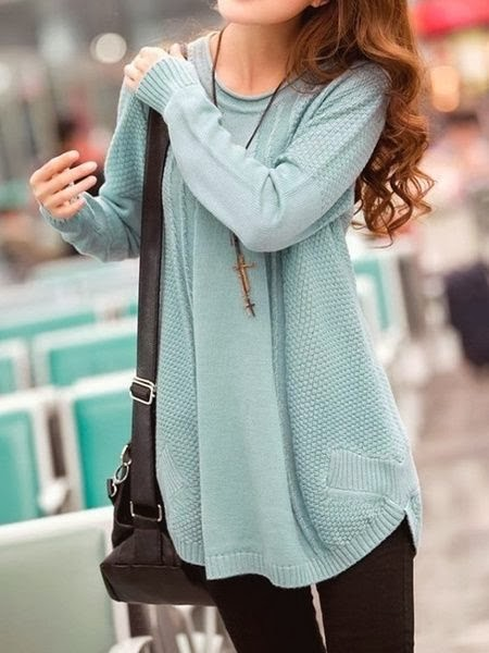 Oversized and stylish light blue dress sweater with tan skinnies
