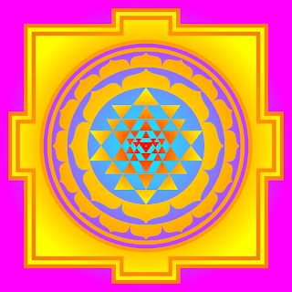 color picture of Sri Chakra, sacred wheel or Mahameru