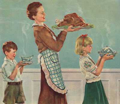 Vintage mom and kids carrying turkey