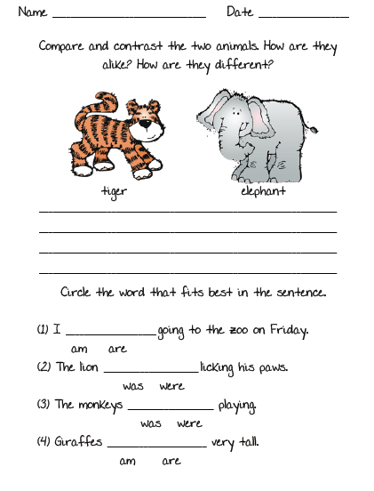 Worksheets for 2nd graders writing