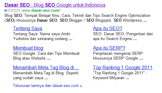 Google Sitelinks untuk Keyword dasar-seo.com