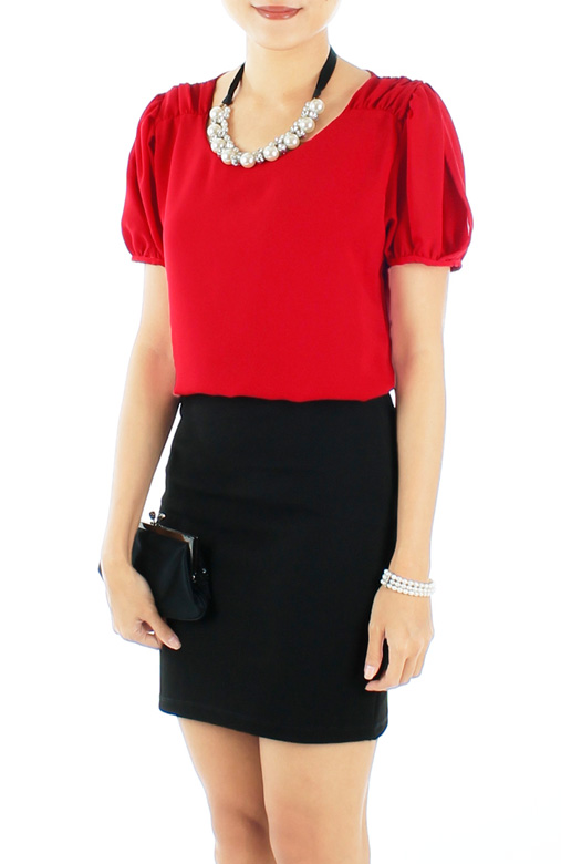 Red Primrose Gathered Pleat Blouse with Sleeves