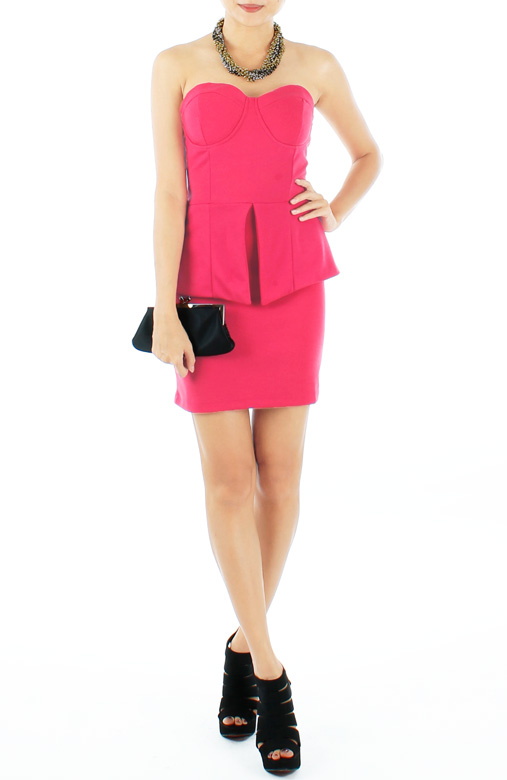 Candy Pink Bustier Peplum Mini Dress