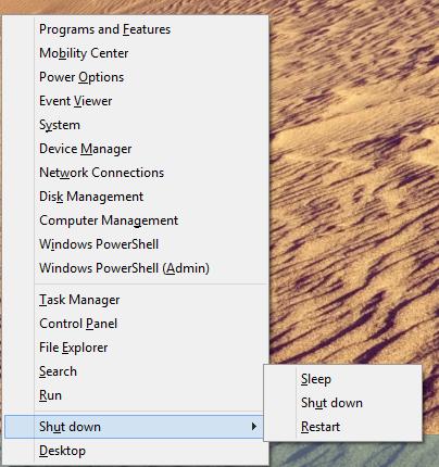 Win + X Menu Now Has Shutdown Options