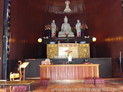 the Buddha altar at Lon Wa Buddhist Temple in Davao City, Philippines