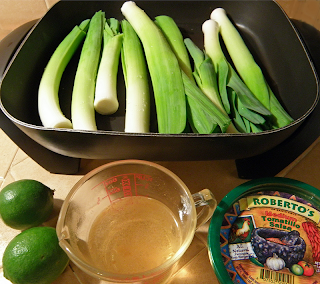 Leeks in Pan, Broth, Limes, and Salsa