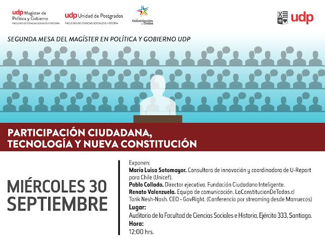 """INVITACIÓN: Mesa """"Participación Ciudadana, Tecnología y Nueva Constitución"""" (Organiza: UDP)"""