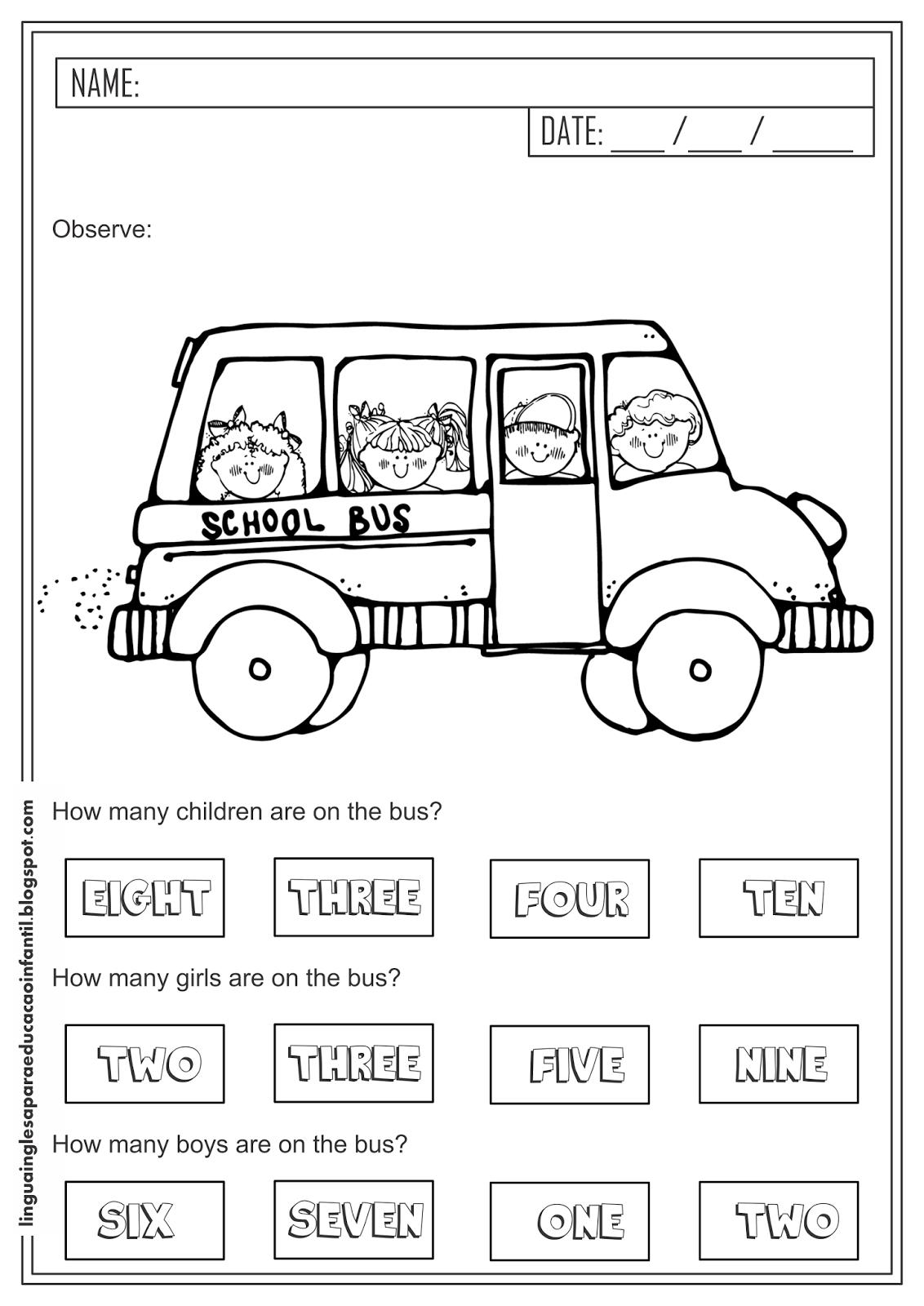 Atividade de Inglês - Quantidade para educação infantil