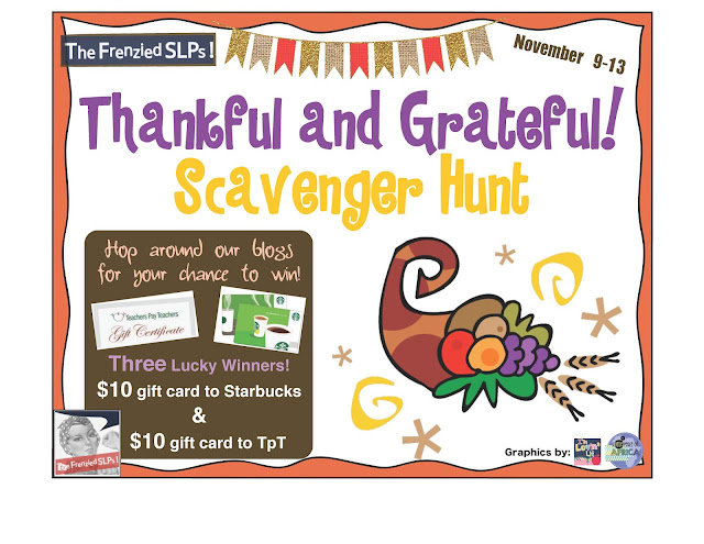 Thankful and Grateful SLP Scavenger Hunt- Stop by Speech Sprouts www.speechsproutstherapy.com