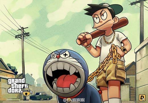 Begilah Jadinya Kalau Semua Tokoh Anime Doraemon Masuk Dalam Dunia