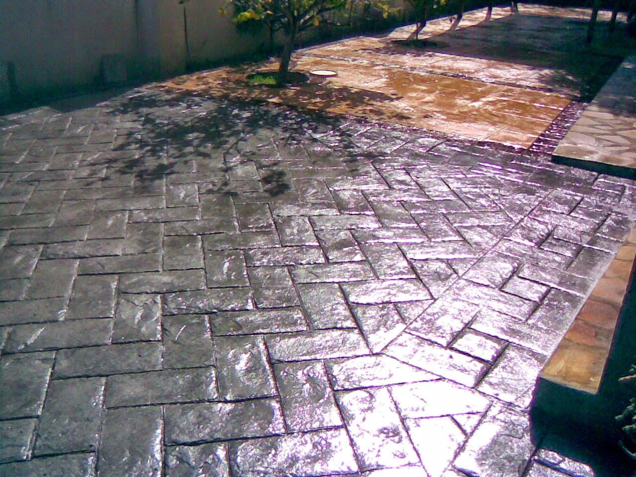 Hormig n impreso piedra a espiga pavimentos continuos for Hormigon impreso youtube