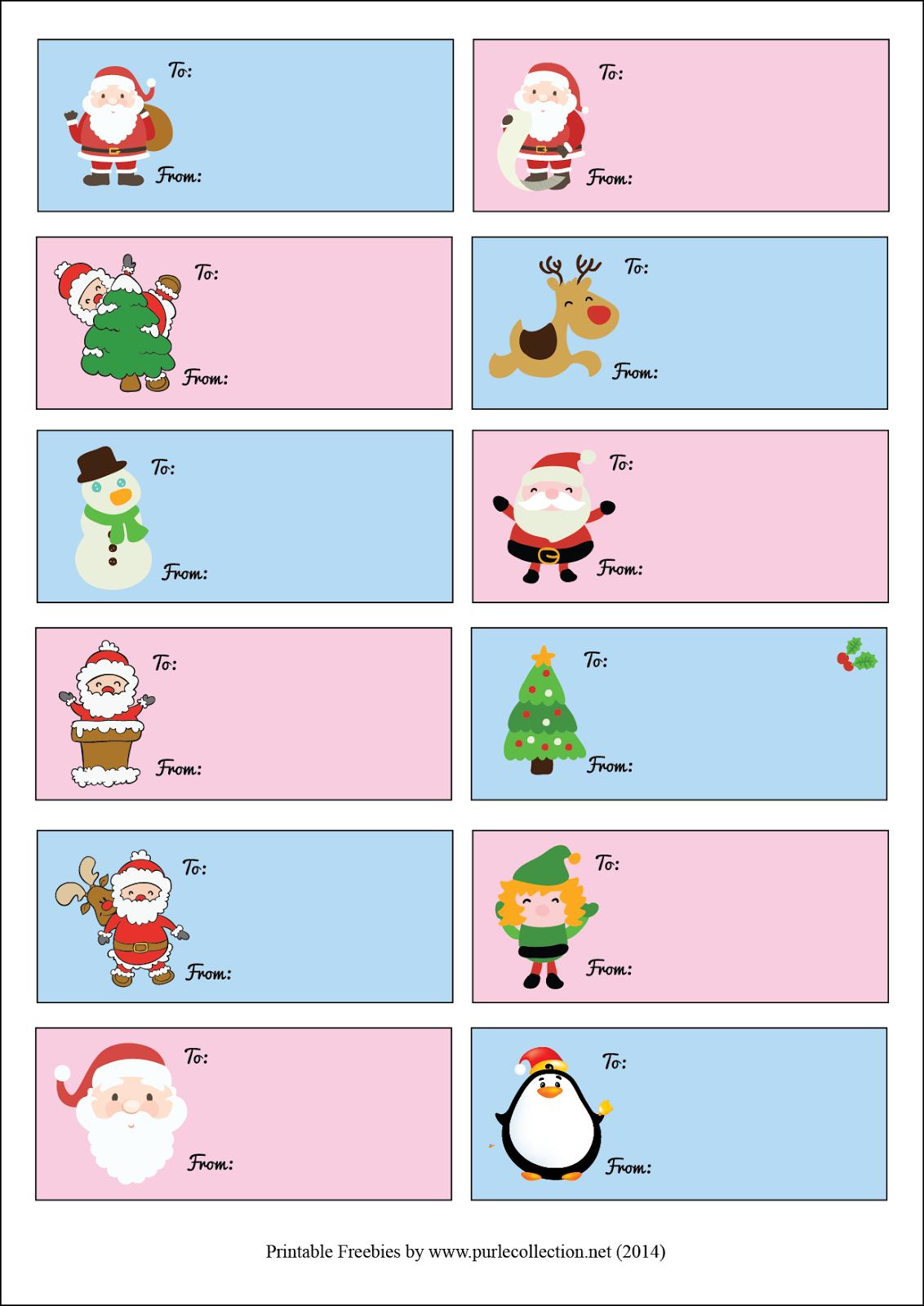 printable christmas tags, stickers, 2014, santa claus, cute, penguin, reindeer, tree, pink, light blue, snowflake, freebies